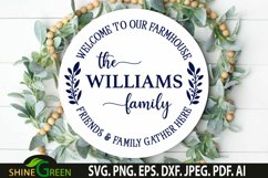 Farmhouse Monogram SVG Welcome Round Wood Sign SVG Product Image 1