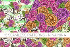Halloween Flowers Seamless Patterns, Roses Digital Papers Product Image 3