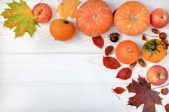 Composition of pumpkins, apples and autumn leaves. Product Image 1