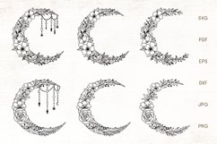 Moon SVG - Floral Crescent Moon SVG Cut Files Product Image 1