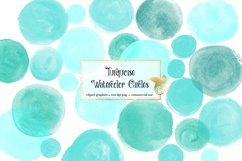 Turquoise Watercolor Circles Clipart Product Image 1
