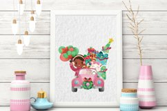 Christmas Cars Girls. Watercolor holiday clipart, vintage Product Image 5