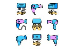 Dryer icons set, outline style Product Image 1