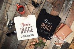 Unisex White and Black T-Shirt Set Styled Shirt Mockup JPG Product Image 1