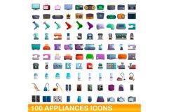 100 appliances icons set, cartoon style Product Image 1