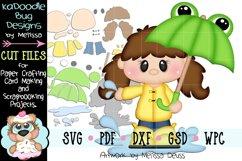 Rainy Frog Umbrella Girl Cut File - SVG PDF DXF GSD WPC Product Image 1