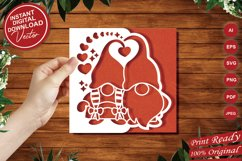 Papercut Romantic Gnome Couple with Hearts Card Cover Design Product Image 5