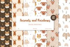 Animal and Rainbow Seamless Patterns, Nursery Digital Paper Product Image 1