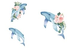 Nautical Floral Watercolor Clipart, Transparent PNG, Summer Product Image 2