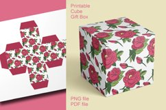 Printable Red Roses Cube Boxes for Small Favors Set of 4 Product Image 6