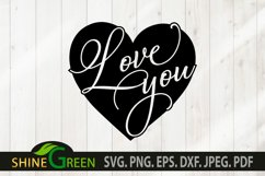Valentines Day SVG - Love You Heart, Couple Gift Idea Product Image 2