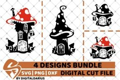 4x Fairy Home Designs Bundle svg, Home Decor svg, Magic svg Product Image 1