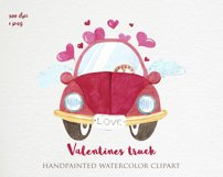 Valentines truck png, watercolor valentines day, sublimation Product Image 2