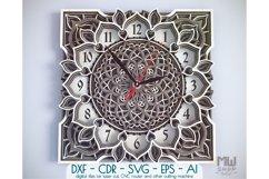 C04 - Mandala Flower Clock, Layered Clock DXF, Clock SVG Product Image 1