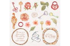 Watercolor wreaths set. Roses & keys Product Image 4