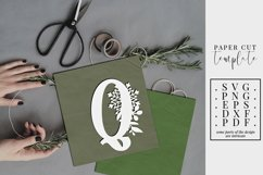 Winter letter Q, single initial paper cut, snowflakes SVG Product Image 1