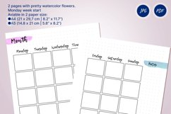 Undated monthly planner's sheets with watercolor flower A5 Product Image 2