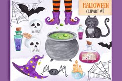 Witch Halloween clipart Watercolor witch items clipart decor Product Image 1