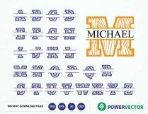 Split Monogram Alphabet Svg Dxf Eps   Split Letters SVG Product Image 1