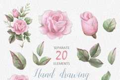 English Roses Watercolour Clipart. Hand painted watercolour Product Image 3