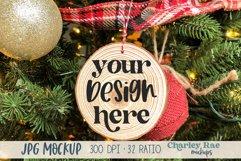 Wood Slice Ornament Mockup on Tree, Whitewashed Mock Up Product Image 1