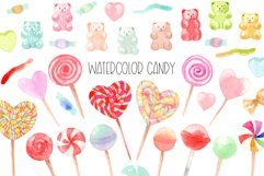 Watercolor candy. Valentine's Day. Patterns and Cliparts Product Image 1