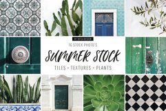 Summer stock photos Lisbon green tiles texture plants Product Image 1