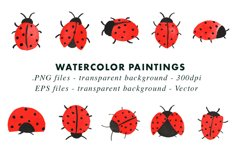 Watercolor Lady Bug Illustrations Clip Art in EPS & PNG Product Image 2