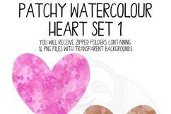 Patchy Watercolor Heart Clipart Set Product Image 5
