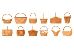 Wicker baskets. Picnic willow baskets, empty straw hampers, Product Image 1