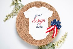 July 4th Baby Bodysuit Mockup White, 4th of July Baby Mockup Product Image 1