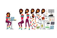 Office Worker Vector. Woman. Happy Clerk, Servant, Employee. Product Image 1