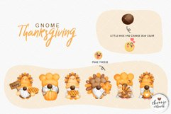 Watercolor Thanksgiving Gnome Clipart, Turkey Gnome Clipart Product Image 3