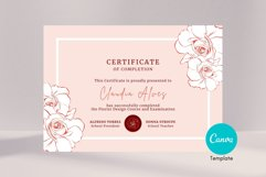 Rose Certificate of Completion Editable Canva Template. Product Image 5