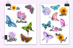 Butterflies and flowers watercolor - sticker pack Product Image 2