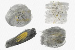 Gray Watercolor Splash with Gold Ink Clipart Product Image 4
