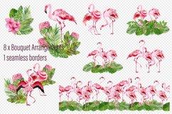 Tropical flamingo clipart - watercolor birds Product Image 3