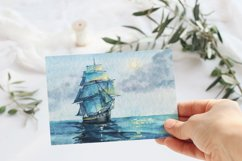 Seascape set of illustrations. Watercolor sea, ship, wave Product Image 2