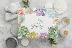 Succulent clipart / Watercolor succulent wreath / Floral png Product Image 3