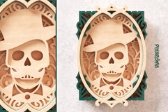 Skull Portrait Wall Art 3D Layered SVG Cut File Product Image 4