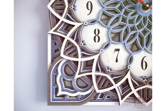C12 - Laser Cut Wall Clock DXF, Mandala Clock, Wooden Clock Product Image 2
