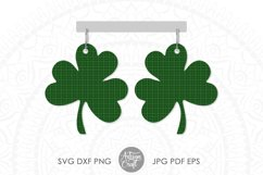 Clover earrings, St Patrick's day earrings, SVG cut file Product Image 4