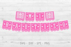 Mi bautizo banner in papel picado style, Svg file for cricut Product Image 2