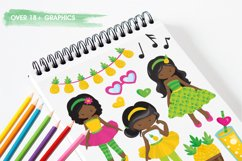 African American girls pineapple party graphics - vectors Product Image 5