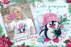 Cute penguin and Christmas. Winter holiday character. Product Image 1