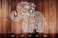 Baby Elephant SVG - Floral Mandala Elephant SVG Product Image 1