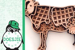 Cow farm animal 3d svg model multi layer mandala layered Product Image 6