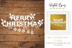 Merry Christmas paper cut SVG / DXF / EPS files Product Image 2