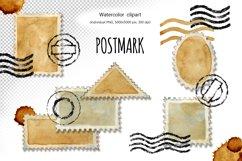 Postage stamp, postmark, watercolor clipart, envelope design Product Image 1