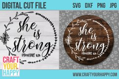 She Is Strong - A Christian SVG Cut File Product Image 2